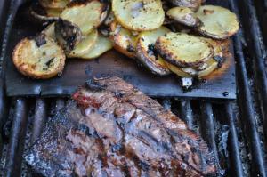 Planked Potatoes w/Tri Tip Steak