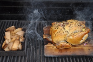 Tuscan Smoke/Roast Planked Whole Chicken